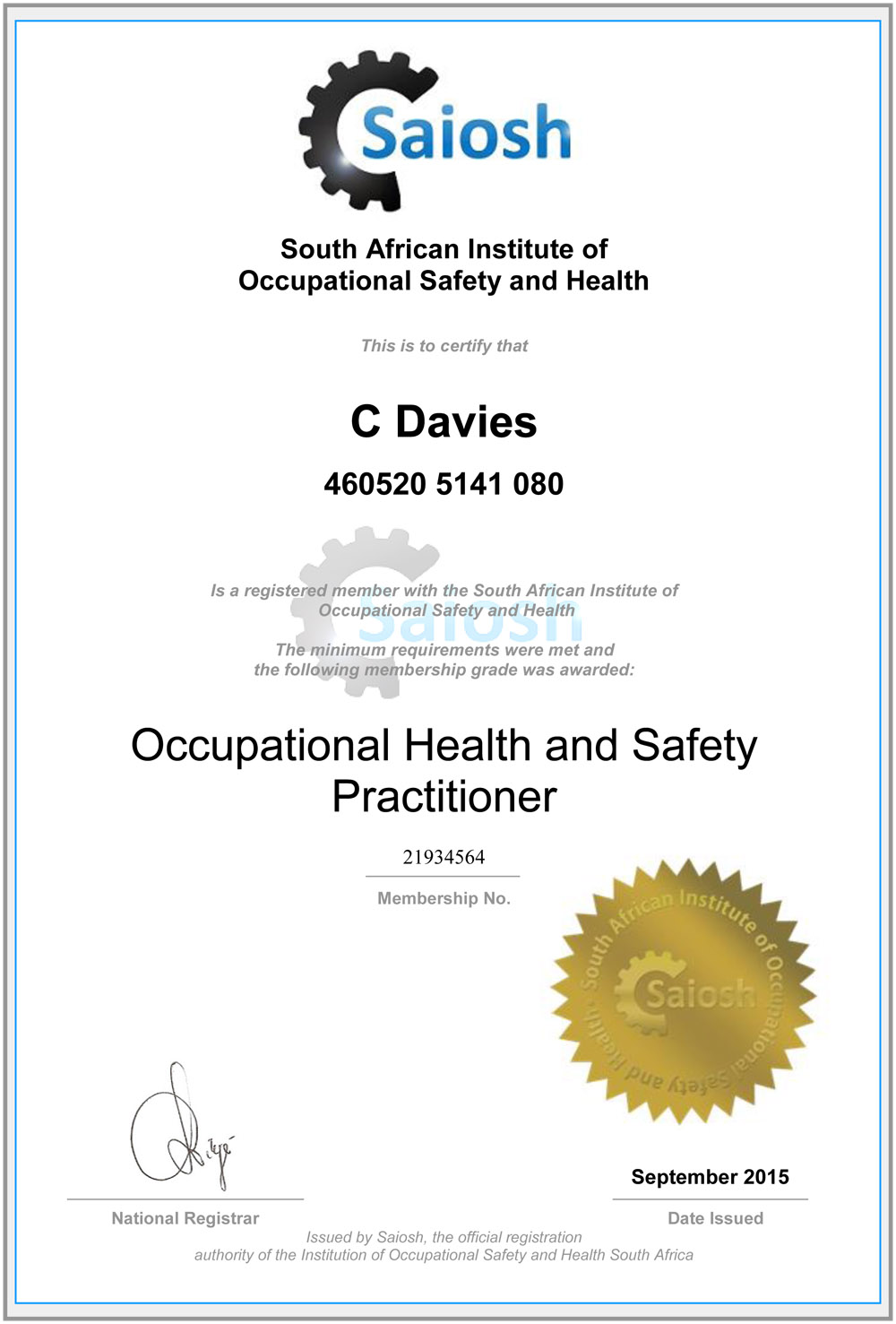 South african institute of occupational safety and health blue occupational safety and health daviescertificate20c20 2021934564 1betcityfo Gallery